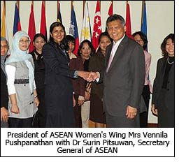 President of ASEAN Women's Wing Mrs Vennila Pushpanathan with Dr Surin Pitsuwan, Secretary General of ASEAN