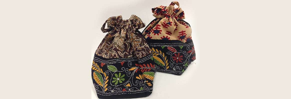 Handbags with Kalamkari motifs