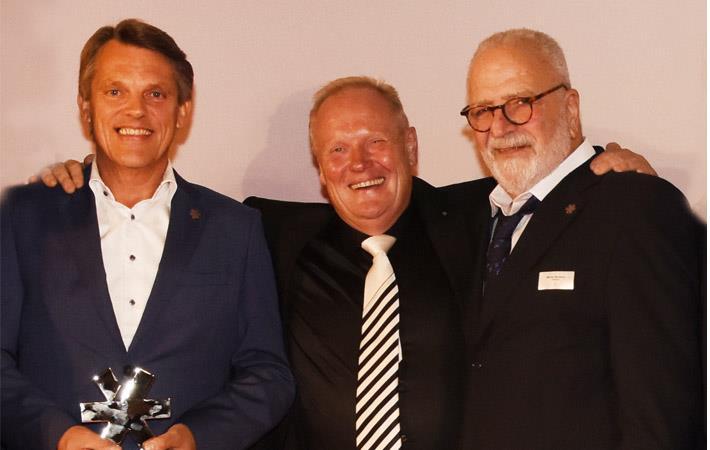 From left: Christoph Wilkens, MD Skechers Germany; Peter Bödeker, CEO of Bödeker Schuhhaus; Marvin Bernstein, Managing Partner of Skechers S.à.r.l. Pic: Business Wire