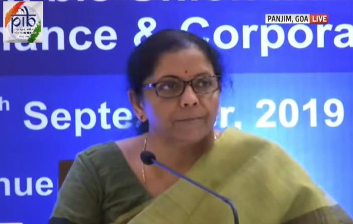 Finance minister Nirmala Sitharaman addressing a press conference on September 20. Pic: YouTube